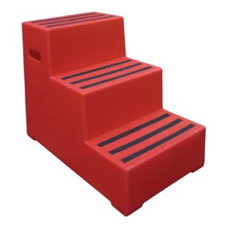 Schwerlasttritt Stufen 3 Plattform-H.620mm Ku.rot