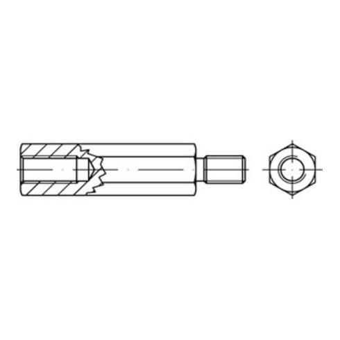 Sechskant-Abstandsbolzen I/A St. gal Zn M 3 x 35 / 7 x 6 SW 5,5 gal Zn S