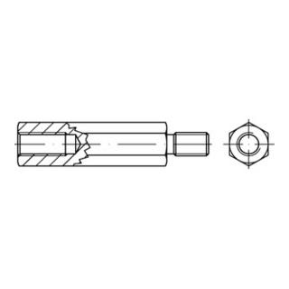 Sechskant-Abstandsbolzen M6x30 Stahl galvanisch verzinkt