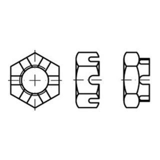 Sechskantmutter DIN 937 M 30 x 1,5 Stahl blank