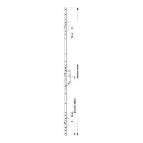 Sicherh.-Türverschl.Secury Massivriegel MR 2 PZW20/65/92/10mm F-St.silber 2285mm
