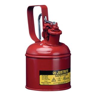 Sicherheitsbehälter f.brennbare Flüssigkeiten 1,0l Stahlblech rot m.Flammsprerre