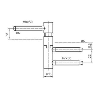 Simonswerk Einbohrband V 5450 Steigung b. 6mm DIN re. Stahl vernickelt f. gefälzte Türen
