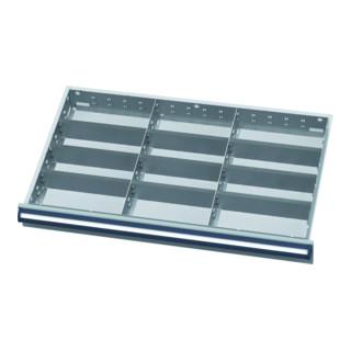 Simplaflex Schubladeneinteilung, Metalleinteilung BLH 100/125 mm, Innenmaß 800x450 mm, 12 Fächer
