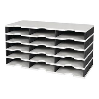 Sortierablage Trio 15 Fächer H363xB723xT331mm Polystyrol grau/schwarz