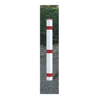 Sperrpfosten Stahl Bodenhülse u.Dreikantschloss B70xT70xH900mm rot/weiß m.Kappe
