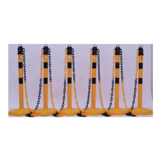 Sperrpfostenset PP gelb/schwarz 6 Pfosten u.5 Ketten D.63xH.1000 mit Kettenösen