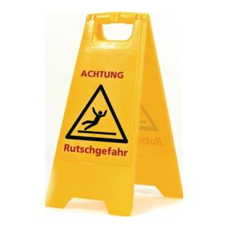 Sprintus Warnschild Achtung Rutschgefahr Schriftzug 300mm 570mm gelb/schwarz/rot