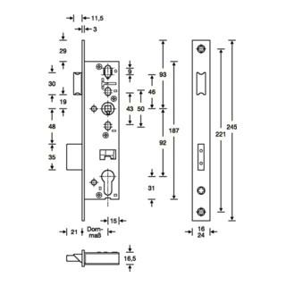 SSF RR-Einsteckschl.PZW 24/30/92/8mm DIN L/R STA ma chroma.Riegelausschl.21mm