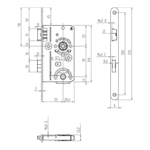 SSF ZT-Einsteckschl.BAD20/55/78/8mm DIN L SP silber rd Kl 1