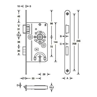 SSF ZT-Einsteckschl.BB 20/ 55/72/8mm DIN R silber rd Kl 2 Zinkdruckgruss
