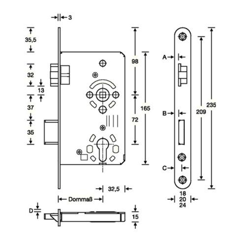 SSF ZT-Einsteckschl.PZW 20/ 65/72/8mm DIN L silber rd Kl 3 Zinkdruckg.