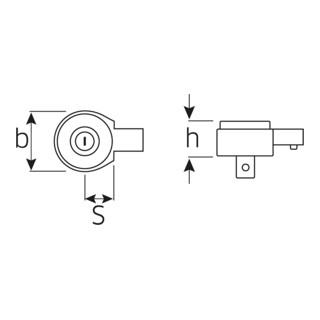 """Stahlwille Feinzahn-Einsteckknarre Gr.20 Außen-4kant 1/2 """" Werkzeugaufnahme 14x18 mm M N·m 300 Nm"""