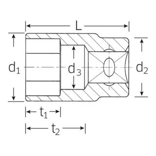 """Stahlwille Steckschlüsseleinsatz (1/2"""") SW.21 mm L.42 mm 110 g"""