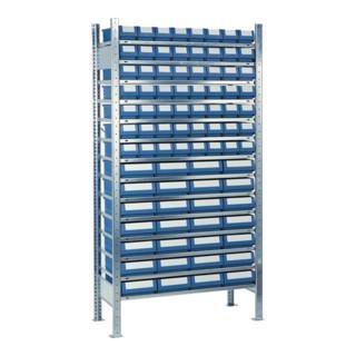 Steckregal H2000xB1000 Anbauregal 14 Stahlböden mit 56 kleinen und 28 mittleren Regalkästen