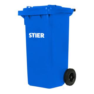 STIER 2-Rad-Müllgroßbehälter 120 l blau BxTxH 475x550x930 mm