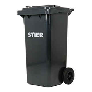 STIER 2-Rad-Müllgroßbehälter 120 l grau BxTxH 475x550x930 mm