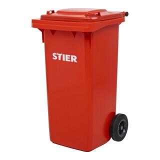 STIER 2-Rad-Müllgroßbehälter 120 l rot BxTxH 475x550x930 mm