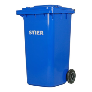 STIER 2-Rad-Müllgroßbehälter 240 l blau BxTxH 576x720x1067 mm