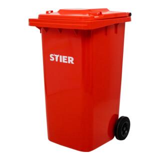 STIER 2-Rad-Müllgroßbehälter 240 l rot BxTxH 576x720x1067 mm
