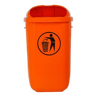 STIER Abfallbehälter mit Regenhaube 50 l orange BxTxH 432x334x745 mm