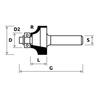 STIER Abrundfräser mit Kugellager HM Schaft- Ø 8 mm