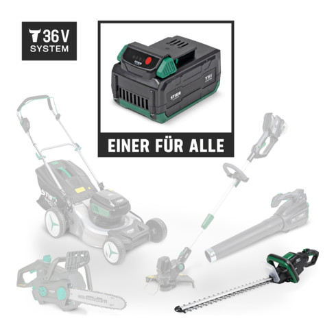 STIER Akku-Heckenschere SHS-54 + Akku 36V 2,5Ah + Schnellladegerät 36V 3A