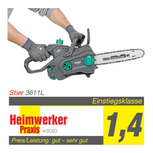 STIER Akku-Kettensäge 3611L 36V 30 cm + Akku 36V 2,5Ah + Schnellladegerät 36V 3A + gratis Akku
