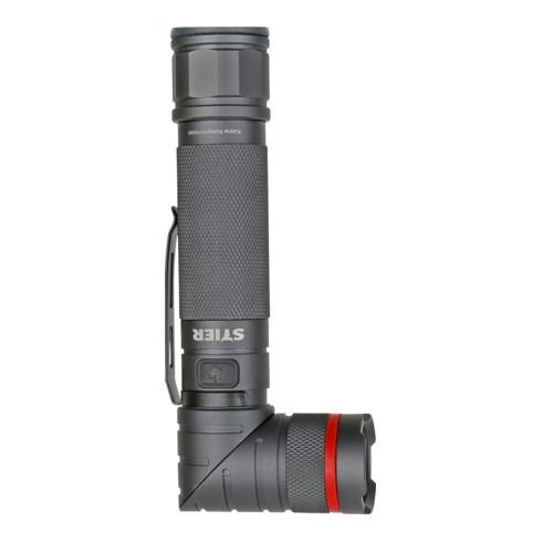 STIER Akku-LED-Taschenlampe 300 Lumen, UV-Licht 395 nm, drehbarer Kopf und Magnet