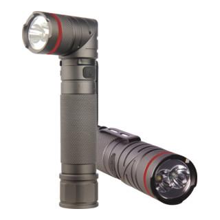 STIER Akku-LED-Taschenlampe 300 Lumen, UV-Licht, drehbarem Kopf und Magnet