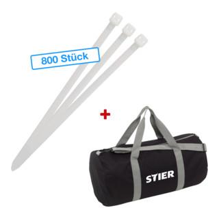 STIER Aktions-Kabelbinderpaket mit 800 Kabelbindern in Sporttasche