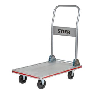 STIER Plattformwagen mit Schiebebügel Tragkraft 250 kg Ladefläche 1000x600 mm