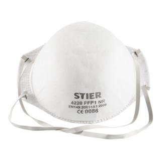 STIER Atemschutzmaske FFP1 ohne Ventil EN 149:2001 20Stk.