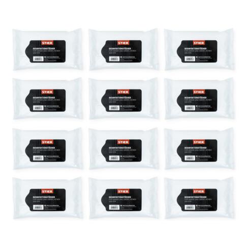 STIER Desinfektionstücher für Hände und Oberflächen 12x 100Stk