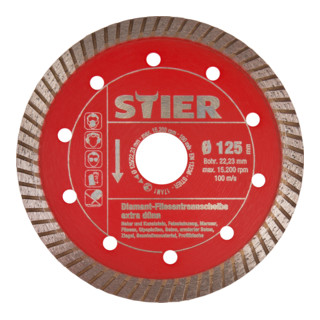 STIER Diamant-Fliesentrennscheibe extra dünn Ø 125, Bohrung 22,23
