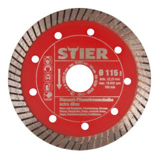 STIER Diamant-Fliesentrennscheibe extra dünn Ø 115 mm Bohrung 22,23 mm speziell für Feinsteinzeugfliesen