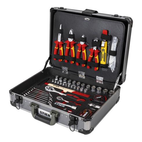 STIER Elektriker-Werkzeugsortiment im Aluminiumkoffer 128-teilig