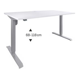 STIER Elektrisch Höhenverstellbarer Schreibtisch Grau mel., 68-118cm 80cm tief