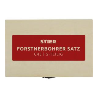 STIER Forstnerbohrer-Set in Holz-Kasette, 5-teilig (15, 20, 25, 30, 35 mm)