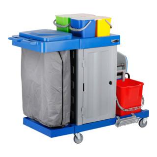 STIER Großer Hygiene- und Reinigungswagen mit Tür (inkl. STIER Wischmop-Set und 5x STIER Moppbezug)