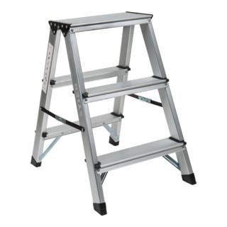STIER Klapptritt 2x3 Stufen beidseitig begehbar Tragfähigkeit 150 kg DIN EN 131