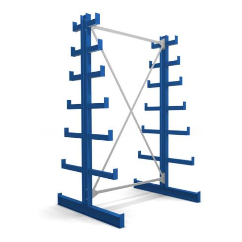 STIER Kragarmregal doppelseitig mit 6 absteigenden Ebenen enzianblau