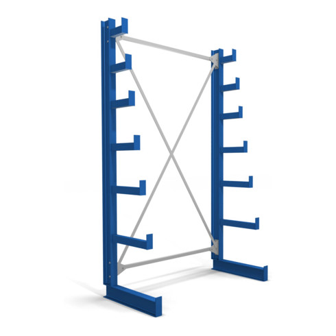 STIER Kragarmregal einseitig mit 6 absteigenden Ebenen enzianblau