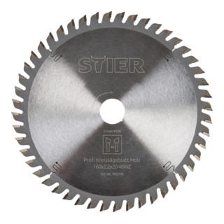 STIER Kreissägeblatt Profi, Holz, 160 x 2,2 x 20 mm, 48 Zähne, Wechselzahn