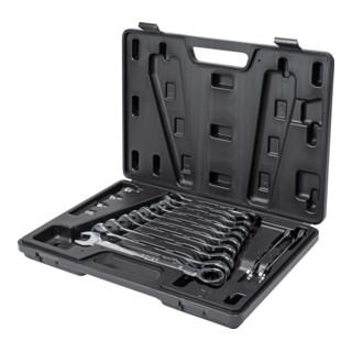 STIER Maul-Ratschenschlüssel-Satz KraftSpezial SW 8 - 19 mm 16-teilig im Kunststoffkoffer