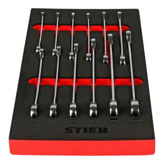 STIER Maul-Ringratschenschlüssel-Satz, SW 8 - 19 mm, 12-teilig, in Weichschaumeinlage (EVA)