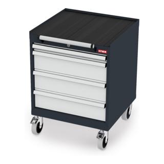 STIER Mobiler Schubladenschrank mit 4 Schubladen BxTxH 600x575x790 mm