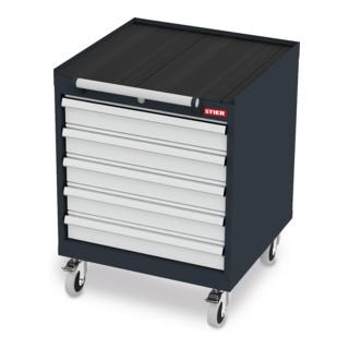 STIER Mobiler Schubladenschrank mit 5 Schubladen BxTxH 600x575x790 mm