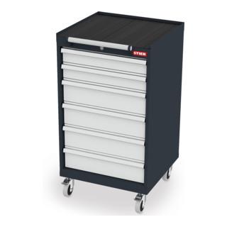 STIER Mobiler Schubladenschrank mit 6 Schubladen BxTxH 600x575x1090 mm
