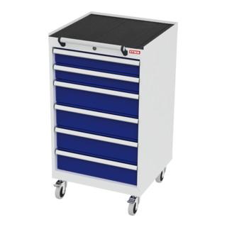 STIER Mobiler Schubladenschrank mit 6 Schubladen BxTxH 600x575x1090 mm lichtgrau/enzianblau